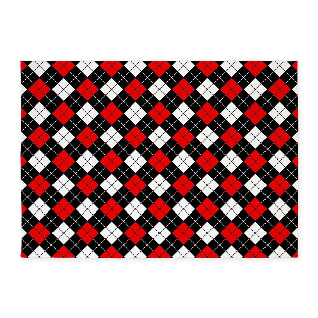 Red Black And White Argyle Pattern 5 X7 Area Rug By Cutetoboot