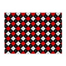 Red Black and White Argyle Pattern 5'x7'Area Rug