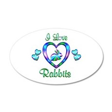 I Love Rabbits 20x12 Oval Wall Decal