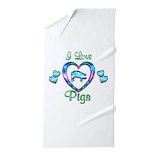 I Love Pigs Beach Towel