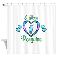 I Love Penguins Shower Curtain