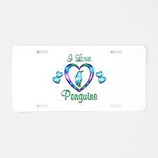 I Love Penguins Aluminum License Plate