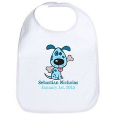 Blue Puppy CUSTOM Baby Name and Birthdate Bib