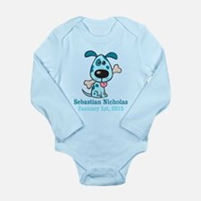 Blue Puppy CUSTOM Baby Name and Birthdate Body Sui