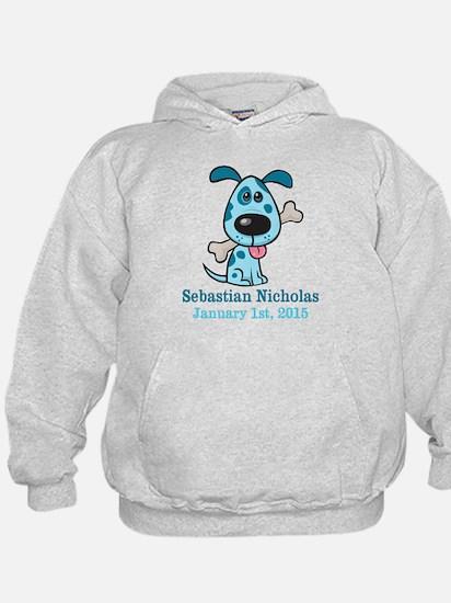 Blue Puppy CUSTOM Baby Name and Birthdate Hoodie