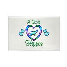 I Love Hippos Rectangle Magnet