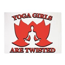 yoga girls are twisted 5'x7'Area Rug