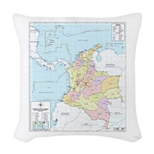 Colombia mapa oficial Woven Throw Pillow