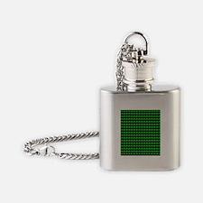 Green Shamrocks St. Patricks Day Bl Flask Necklace