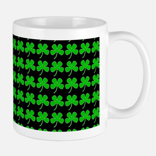 Green Shamrocks St. Patricks Day Black Mugs