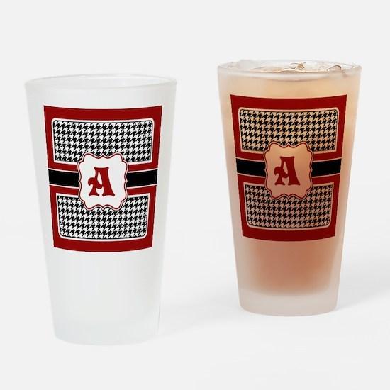 Houndstooth Monogram Drinking Glass