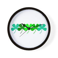 Irish Green 4 Leaf Clovers St. Patricks Wall Clock