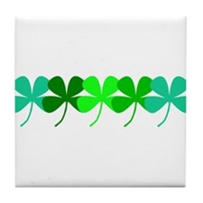 Irish Green 4 Leaf Clovers St. Patric Tile Coaster