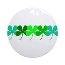 Irish Green 4 Leaf Clovers St. Pa Ornament (Round)