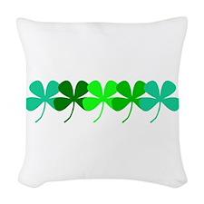Irish Green 4 Leaf Clovers St. Woven Throw Pillow