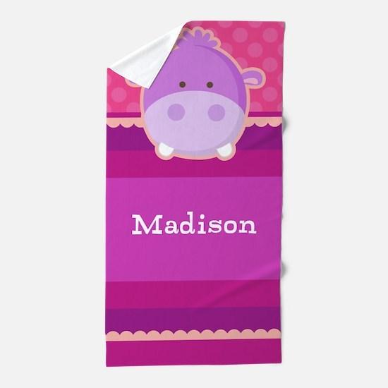 Hippo Girls Personalized Beach Towel