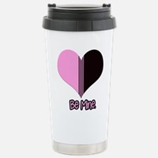 Be Mine Valentine Deco Stripe Heart Travel Mug