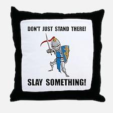 Knight Slay Something Cartoon Throw Pillow