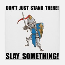 Knight Slay Something Cartoon Tile Coaster