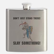 Knight Slay Something Cartoon Flask