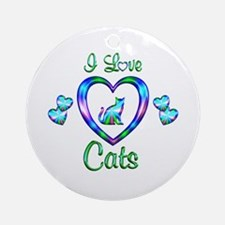 I Love Cats Ornament (Round)