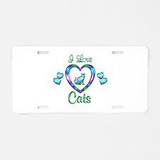 I Love Cats Aluminum License Plate