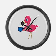 Pink Flamingo with Blue Coffee Mug Large Wall Cloc