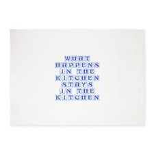 What happens in the kitchen-Kon blue 5'x7'Area Rug