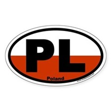 Poland PL Sticker with flag colors