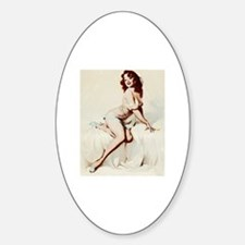 Vintage Pin-Up Sticker (Oval)