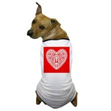 White Valentine Heart Dog T-Shirt