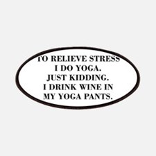 RELIEVE STRESS wine yoga pants-Bod black Patches