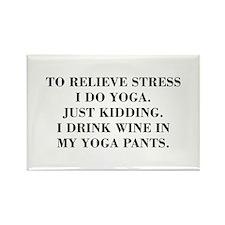 RELIEVE STRESS wine yoga pants-Bod black Magnets