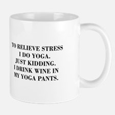 RELIEVE STRESS wine yoga pants-Bod black Mugs