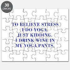 RELIEVE STRESS wine yoga pants-Bod blue Puzzle
