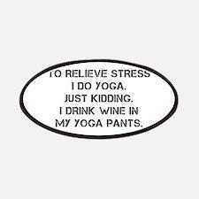 RELIEVE STRESS wine yoga pants-Cap black Patches