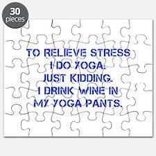 RELIEVE STRESS wine yoga pants-Cap blue Puzzle