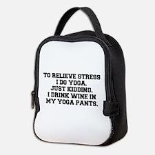 RELIEVE STRESS wine yoga pants-Fre black Neoprene