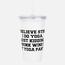 RELIEVE STRESS wine yoga pants-Fre black Acrylic D