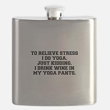 RELIEVE STRESS wine yoga pants-Fre black Flask