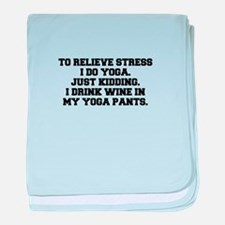RELIEVE STRESS wine yoga pants-Fre black baby blan