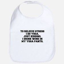 RELIEVE STRESS wine yoga pants-Fre black Bib