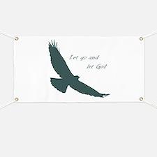 Let Go & Let God Inspirational Quote Soaring Hawk