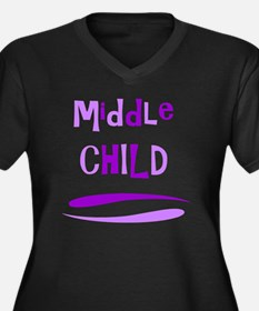 Middle Child Women's Plus Size V-Neck Dark T-Shirt