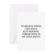 RELIEVE STRESS wine yoga pants-Opt black Greeting