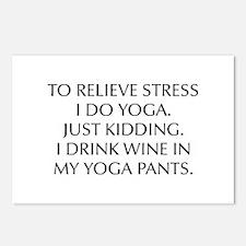 RELIEVE STRESS wine yoga pants-Opt black Postcards