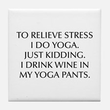 RELIEVE STRESS wine yoga pants-Opt black Tile Coas