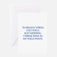 RELIEVE STRESS wine yoga pants-Opt blue Greeting C