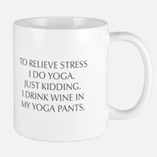 RELIEVE STRESS wine yoga pants-Opt gray Mugs