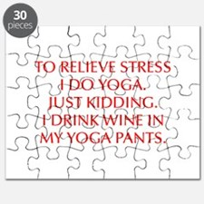 RELIEVE STRESS wine yoga pants-Opt red Puzzle